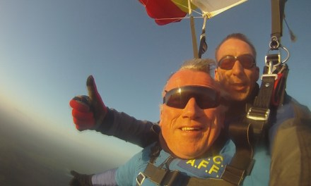 Wheelchair user braves skydive to help feed hungry kids