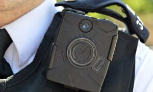 A Metropolitan police officer wearing a body camera
