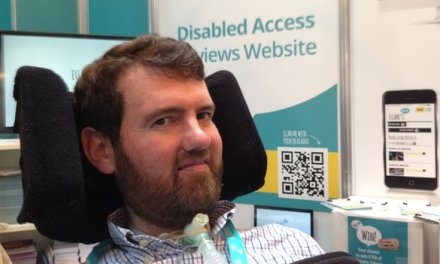 Family support disabled man with accessibility guide