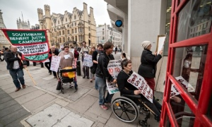 Disabled people and their supporters protest in London against benefit cuts. Photograph: Guy Corbishley/Demotix/Corbis