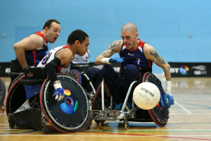 LEICESTER, ENGLAND - JUNE 10:  Ayaz Bhuta takes part in training during the Great Britain Wheelchair Rugby Media Day on June 10, 2015 in Leicester, England.  (Photo by Jan Kruger/Getty Images,)