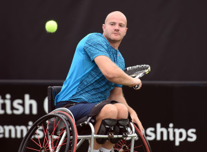 Marc Mccarroll of Great Britain on Day 1 of British Open WheelchairTennis Championships in Nottingham on Tuesday, 14th of July 2015