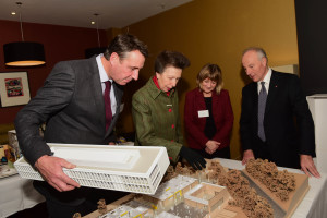 Glenn Howells, HRH Princess Royal, Gill Morbey and John Crabtree review plans for new community centre in Birmingham - at event in Birmingham on 1 December
