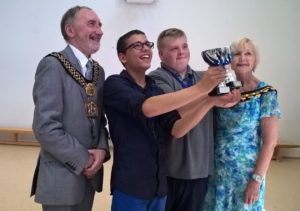 The Lord Mayor and Lady Mayoress of Bradford award Harris (left) and Keiron their travel training awards
