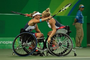 20160914 Copyright onEdition 2016© Free for editorial use image, please credit: onEdition   Wheelchair Tennis Player, Lucy Shuker, from Fellet, Hants and Jordanne Whiley MBE, from Birmingham, competing in the Women's Doubles Bronze Medal Match wins a bronze medal in the competing for ParalympicsGB at the Rio Paralympic Games 2016.