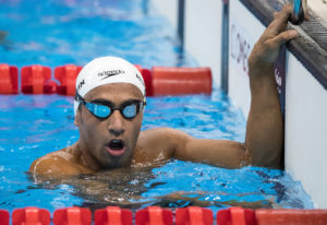 A refugee swimmer Ibrahim Al Hussein IPA reacts after competing in Heat 1 of the Men's 50m Freestyle - S9 Swimming at the Olympic Aquatics Stadium. The Paralympic Games, Rio de Janeiro, Brazil, Tuesday 13th September 2016. Photo: Simon Bruty for OIS/IOC.  Handout image supplied by OIS/IOC
