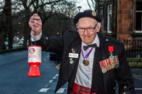 Edinburgh-born war veteran Tom Gilzean (95) has been helping to raise money on the streets of Edinburgh for The Sick Kids Friends Foundation for 33 years. And now needs help to repair his wheelchair so he can continue his charity work. IN PIC Tom Gilzean