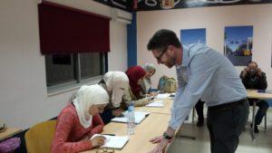 Andrew Miller teaching students at the German Jordanian University Vision Rehabilitation Center. Amman, Jordan