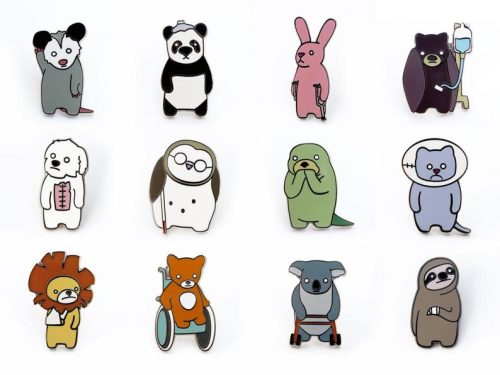 A grid of twelve animal pins, each of whom have a different injury or disability