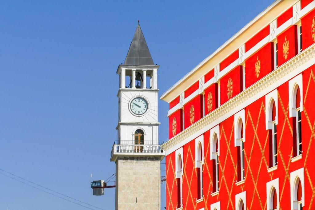 A brightly coloured building in Tirana