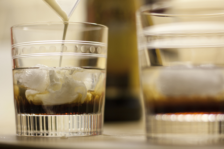 An image of a white russian cocktail ready to be mixed