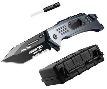 6-in-1 Couteau Pliant Extra Sharp avec Lame en Acier Inoxydable Titane placage