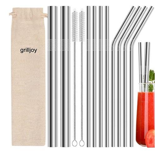 Grilljoy 13PC Pailles Réutilisables en Inox