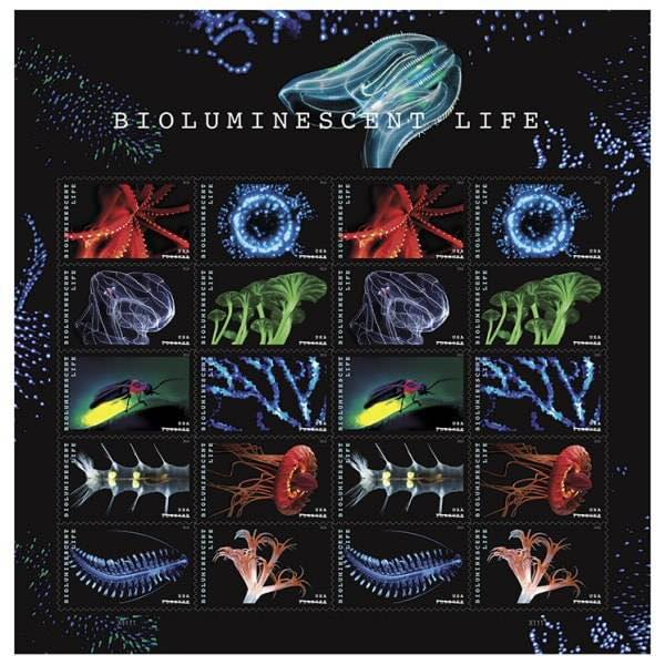 U.S.A. bioluminescent postage stamps