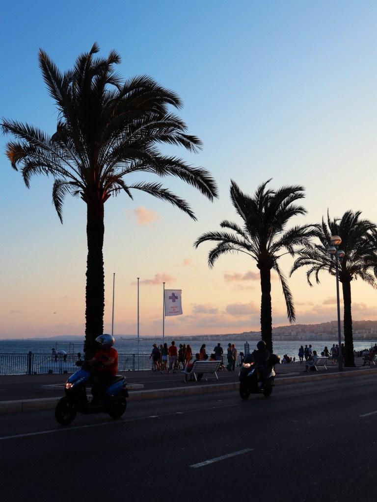 promenade des anglais coucher de soleil nice