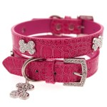 Hot Pink Leather Diamante Dog Collar and Bone Charm