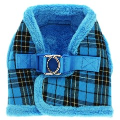luxury-fur-tartan-harness-blue