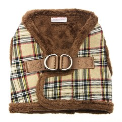 luxury-fur-tartan-harness-brown