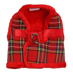 luxury-fur-tartan-harness-red