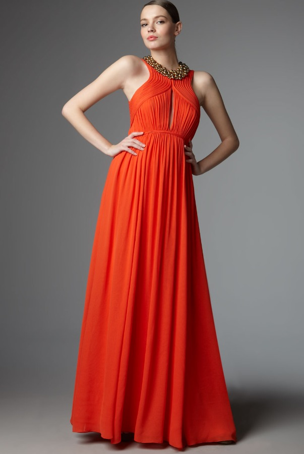 ROBERT RODRIGUEZ Alexandra Silk Dress in Orange