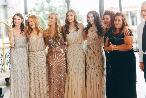 Champagne Gold Beige Nude beaded dresses by Adrianna Papell for rent and sale