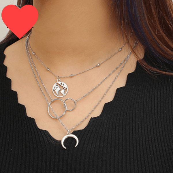 TTLIFE Bohemia Chokers Necklace Circle Map Moon Crescent Necklace for Women Vintage Antique MultiLayer Chain Necklaces Collares