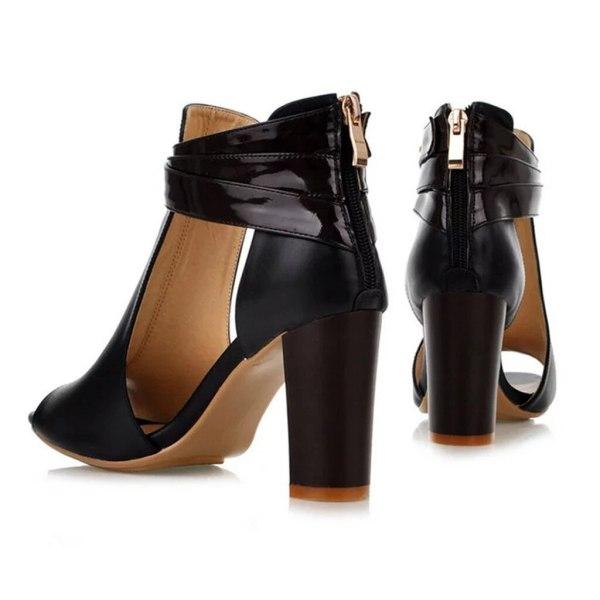 Peep Toe High Heel Zipper Sandal Shoe