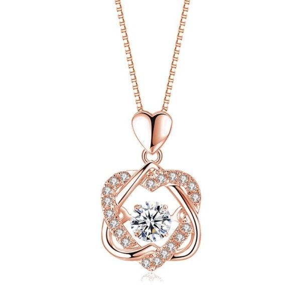 Diamond Beating Heart Pendant Chain Necklace