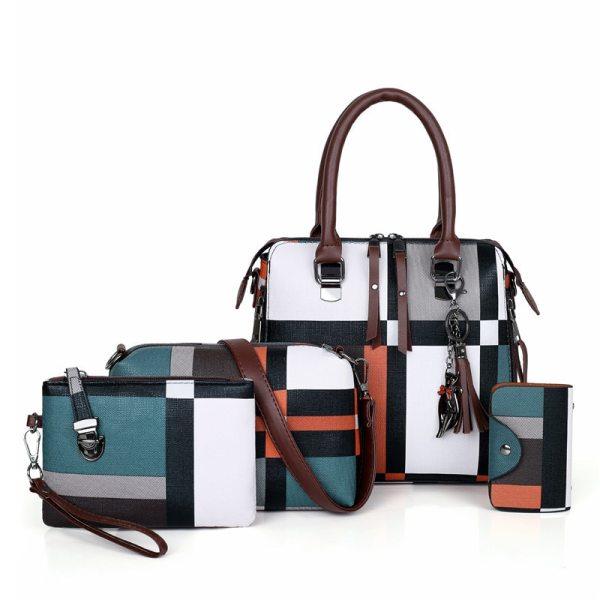 Luxury Handbags Plaid Women Bags Designer 2019 Tassel Purses Handbags Set 4 Pieces Bags Composite Clutch Female Bolsa Feminina