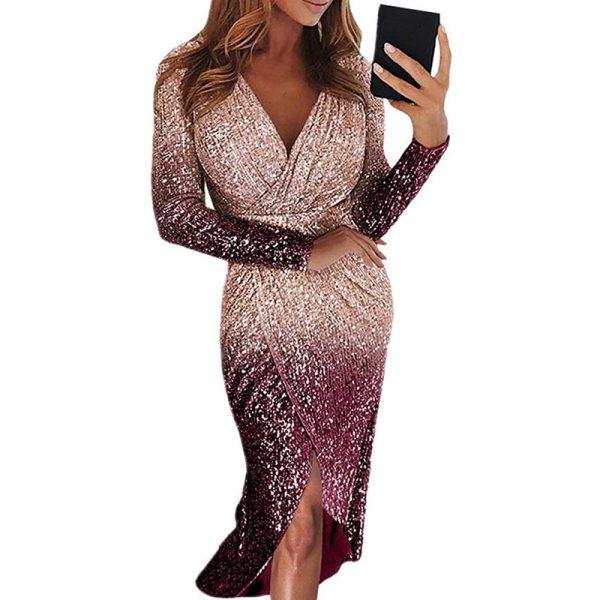 Elegant Sequin Long Sleeve Dress