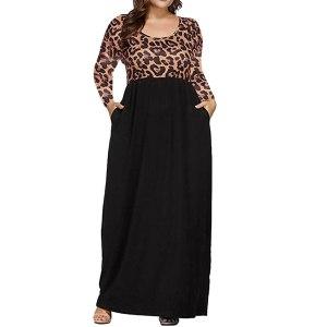 Plus Size Leopard Printed Maxi Dress