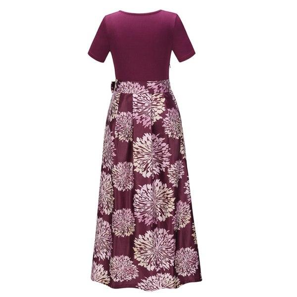 Short Sleeve Large Print Maxi Dress