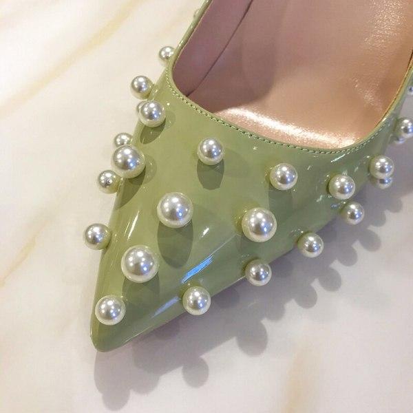 Luxury Pearl Rivets Pointed Toe Thin 8cm Heel Pumps