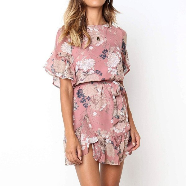 Womail Women Dresses Summer Sexy O Neck Print Boho Beach Dress Ruffle Bandage Short Sleeve Mini Dress Wrap Sundress Robe Vestido