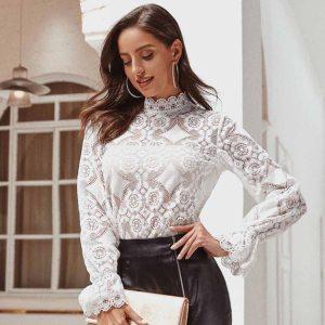 JAYCOSIN Fashion Woman Blouses 2020 White Lace Flower Mesh Blouse Shirt Long Sleeve Shirts Blusas Autumn Femininas Blouse Tops
