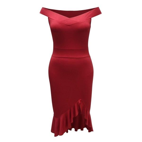 Sexy Dress Women Soild deep v Neck Ruffles Elegant Dress Bandage Bodycon Backless Club Party Dress Red Black Hem Slit Slim Dress