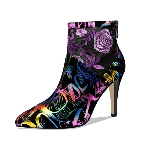 Colorful Suede & Mesh Embroidery Ankle Boots With Zip