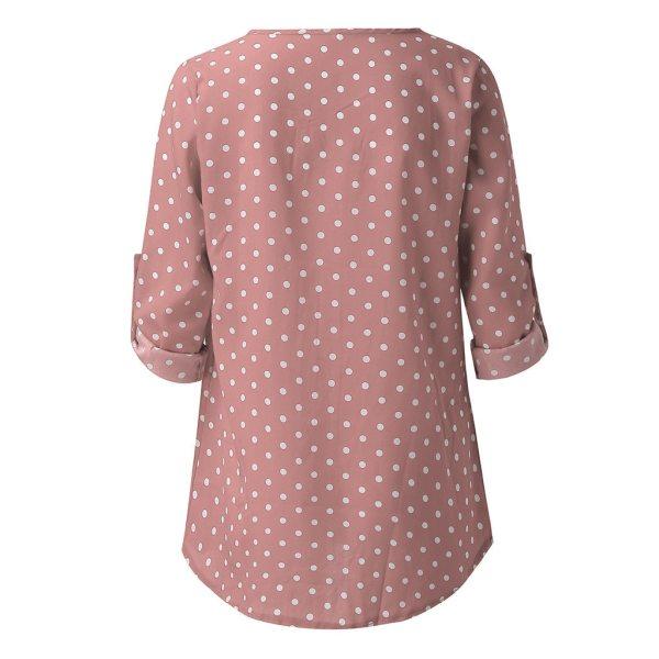 Womail Blouse Women Dot Print Long Sleeve Botton Blouse V-neck Shirts Casual Blouse 5XL Femme Blusas Mujer de Moda 2019 J73