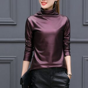 Womail Women Blouse Faux Leather Elegant Long Sleeve Shirt Turleneck Female Office Tops Solid Casual Blusas feminina Plus Size