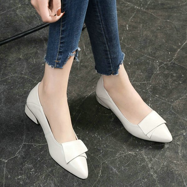 Large Size 2020 Summer Cowhide Leather Pumps Wild Pointed Heels Shallow Thick Red Shoes Women's Shoes Square Heel Fashion