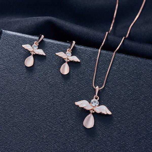 3pcs/set Jewelry Sets Women Elegant Waterdrop Rhinestone Pendant Necklace Hook Earrings Jewelry Set