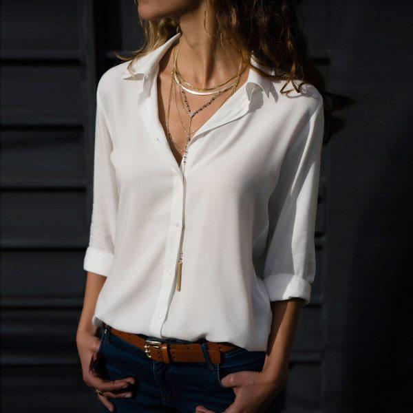 Womail Women top t-shirt Fashion Solid Ladies Chiffon Long Sleeve OL Shirt Casual Loose Tops Casual Shirt Tops 2020 f1