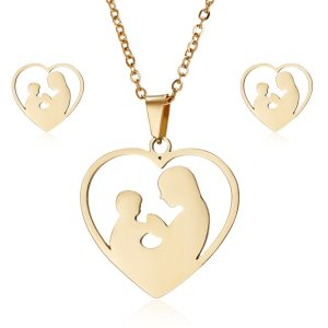 Fashion Gold Stainless Steel Mother Hold Child Necklace Sets Earrings Jewelry Sets For Women Mother's Day Gift Jewelry
