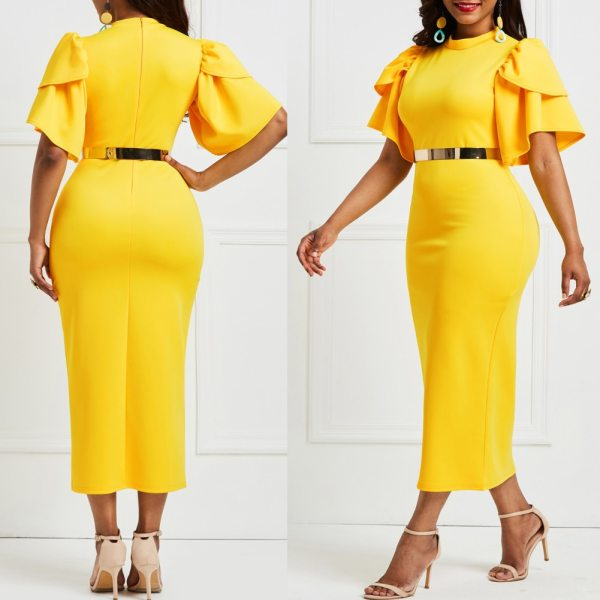 Hot Sexy Women Solid Color O Neck Short Flared Sleeve Bodycon Banquet Midi Dress Short Flared Sleeve Bodycon Banquet Midi Dress