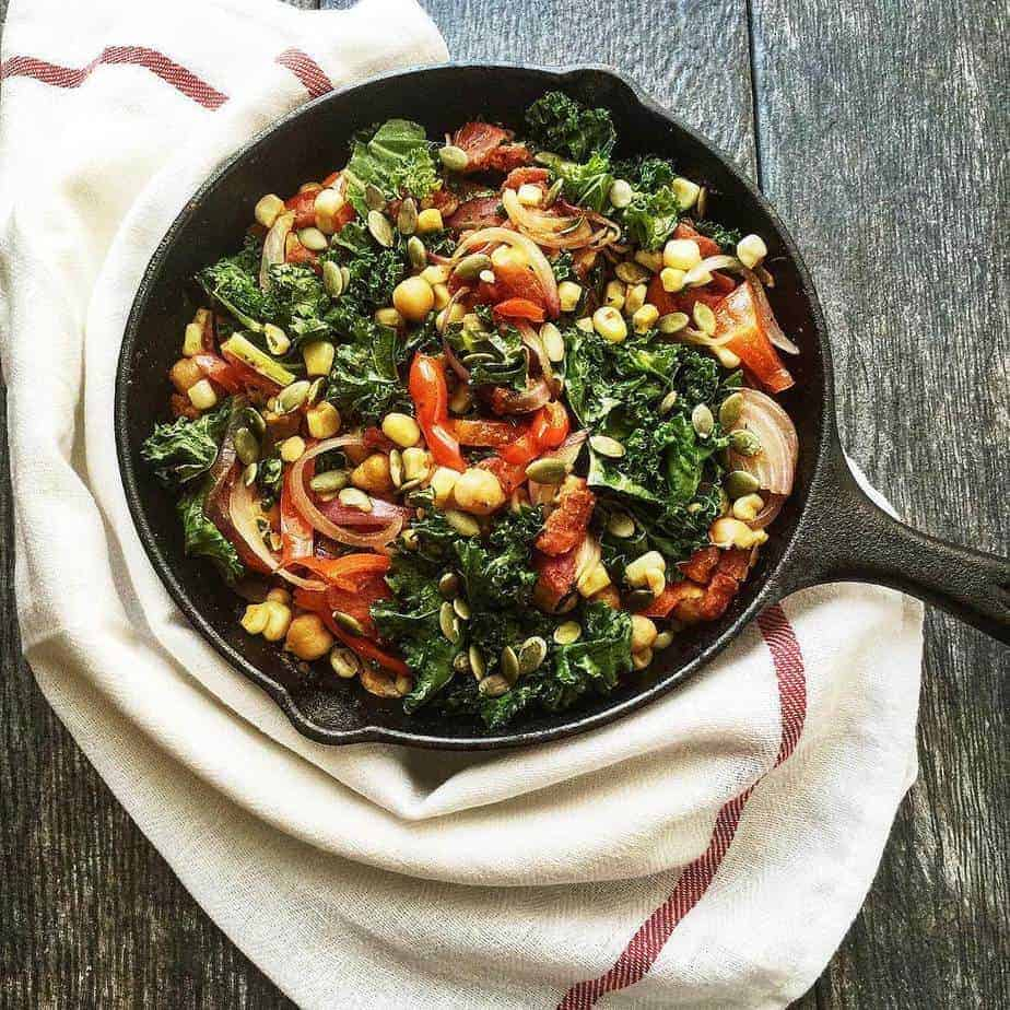 Hearty Vegetarian Skillet with Kale and Garbanzo Beans