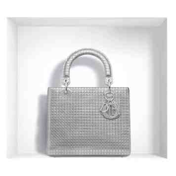 LADY DIOR BAG SILVER-TONE PERFORATED CALFSKIN