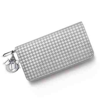"""LADY DIOR"" VOYAGEUR WALLET SILVER-TONE PERFORATED CALFSKIN"