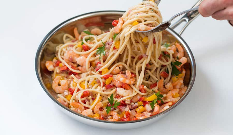 Spaghetti Alfredo with Pancetta and Shrimp