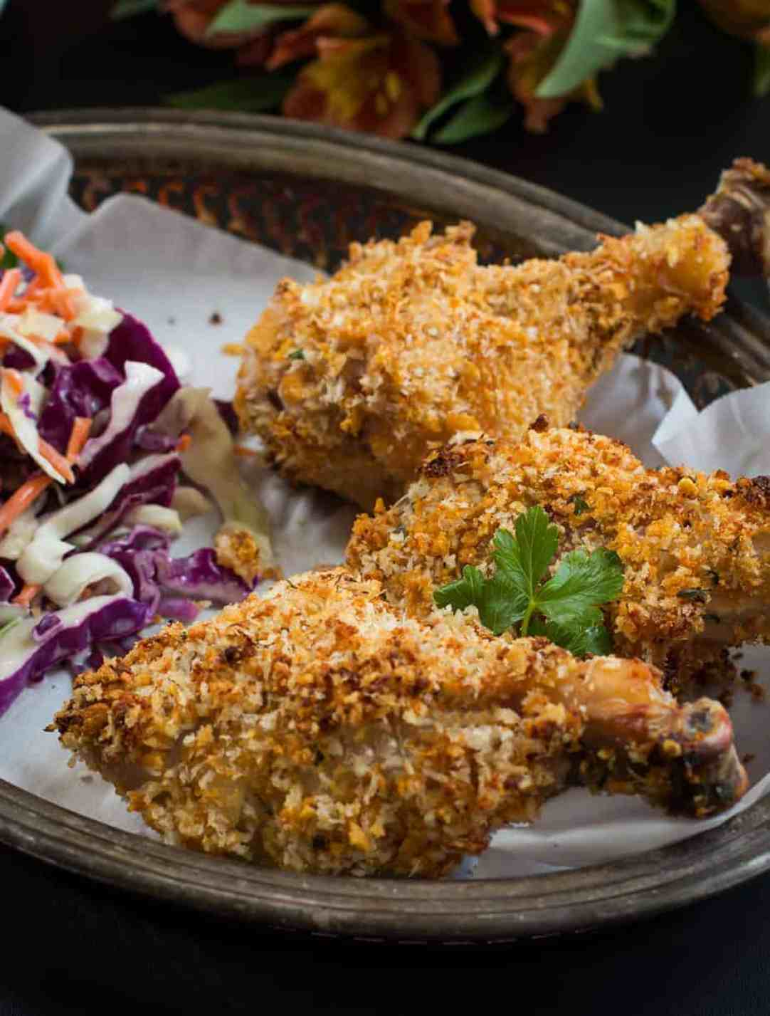 crispy oven baked chicken legs with buttermilk. oven baked fried chicken with less greasy