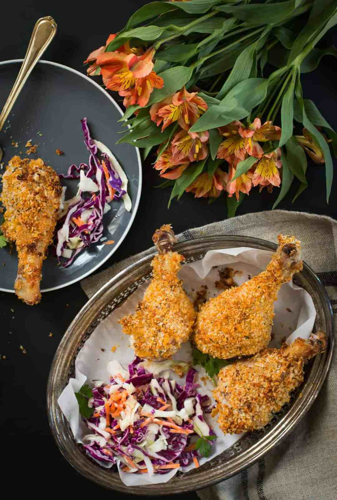 Crispy oven baked chicken legs with buttermilk. The best oven fried chicken, non-greasy and you will achieve the same crispy golden texture you get from frying.